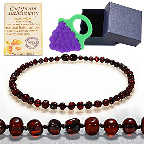 Baltic Amber Teething Necklace For Babies (Unisex) (Cherry) - Anti Inflammatory, Drooling and Teething Pain Reducing,Natural Remedy Calm The Nerves Help Sleep - Polished Greenish Certified Amber Beads