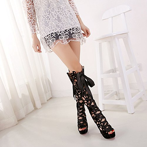 Toe Black Stiletto Plate R Out Lace Bottes Up Open Sandales Cosplay Femmes Dames Cut forme Pompes YR Pour Sexy Nightclub R4qHX