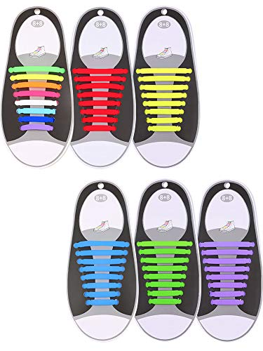 Hestya 6 Pairs No Tie Shoelaces for Kids and Adults, Waterproof Silicone Flat Elastic Athletic Sport Shoe Laces for Sneakers Board Shoes (Multicolor, Sky Blue, Green, Yellow, Purple, red)