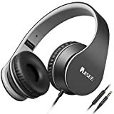 IAXSEE I70 Wired On-Ear Headphones with Microphone and Volume Control Stereo Lightweight Adjustable Headsets for iPad iPod Android Smartphones Laptop Mp3(Black Gray)