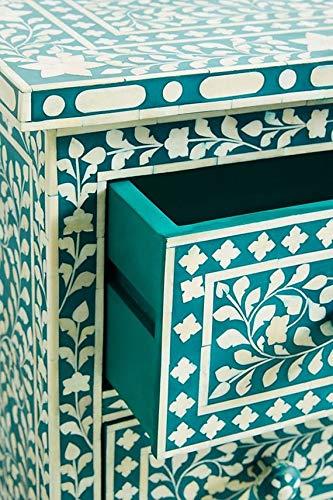 Handmade Bone Inlay 3 Drawers Chest in Turquoise