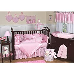 Sweet Jojo Designs Pink Chenille and Satin Baby Girl Bedding 9 piece Crib Set