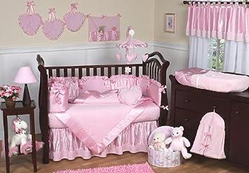 sweet jojo designs 9 piece pink chenille and satin baby girl bedding crib set - Baby Girl Bedding