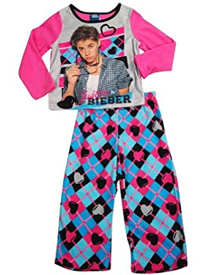 Justin Bieber - Little Girls Long Sleeve Justin Bieber Fleece Pajamas