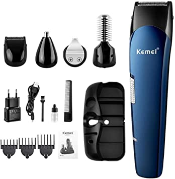 Recortadora de pelo recargable 5 en 1 para hombre, afeitadora de barba, afeitadora, recortadora de pelo para la nariz y el pelo de titanio: Amazon.es: Salud y cuidado personal