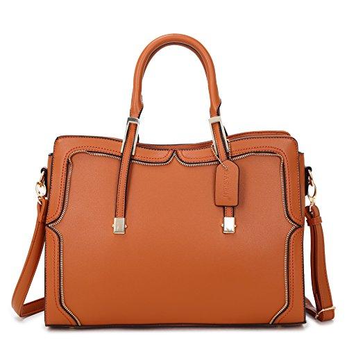 Satchel Crossbody Vegan Top Fashion Leather Bag Handbag Zip brown Structured Shoulder 8172 Handle Purse zTSUxwqzp
