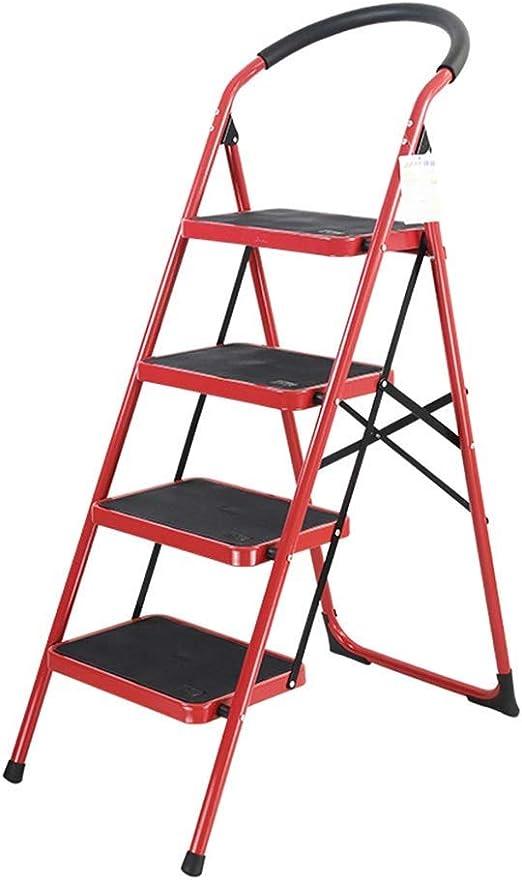 Escaleras De Elevación, Patas Antideslizantes - Diseño Plegable Fácil De Guardar - para El Hogar/Cocina/Garaje Rojo: Amazon.es: Hogar