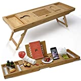 Bathtub Caddy & Laptop Bed Desk -Patent Pending 2 In 1 Innovative Design Transforms Our 100% Extra Large Bamboo Bathtub Tray To Bed Tray (10' wide)- For The Perfect Home Spa Oasis (Natural Bamboo)