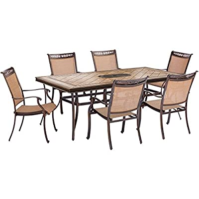 Hanover FNTDN7PCTN-P Fontana 7 Piece Dining Set Outdoor Furniture, Tan - 7-Piece Dining set from the Fontana collection Set includes six outdoor Dining chairs and one tile-top Dining Table All-weather construction sealed with a protective Bronze coating - patio-furniture, dining-sets-patio-funiture, patio - 51T77ltUn9L. SS400  -