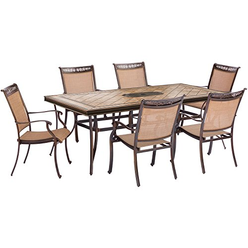 ona Dining Set with Six Stationary Dining Chairs and A Large Tile-Top Table (7 Piece) (Pack of 7), Tan ()