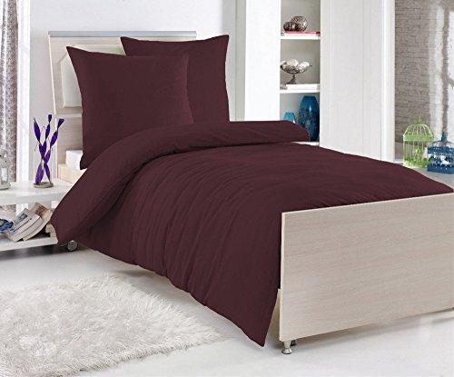 Renforcé 'EXKLUSIV' Baumwolle Bettwäsche 135 x 200 cm Uni Farben Reißverschluß, Farbe:WEINROT