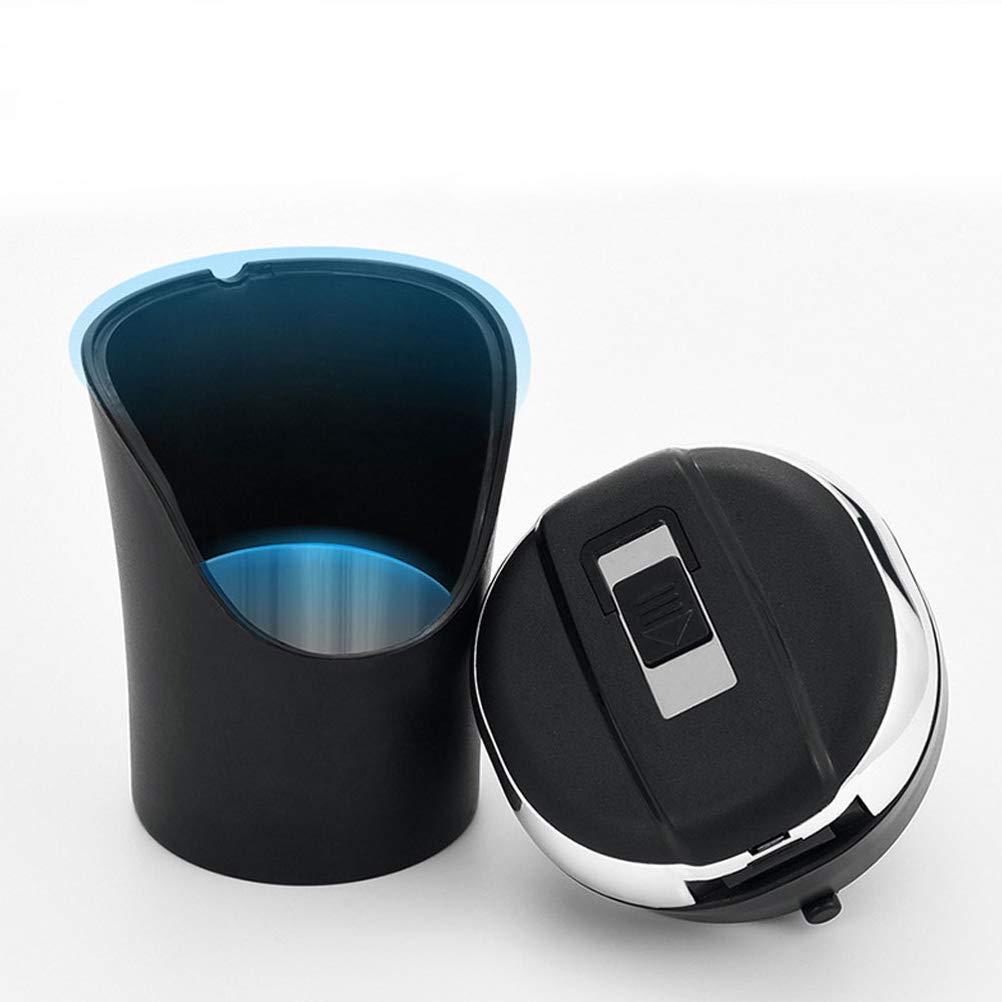 1 pi/èce noir + argent Cendrier de voiture portable /à /énergie solaire pour voiture avec couvercle et lumi/ère LED bleue