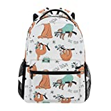 ZZKKO Cartoon Cute Sloth Backpacks College School Book Bag Travel Hiking Camping Daypack