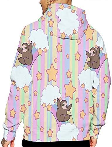 yuhuandadi Men Realistic 3D Print Hoodie Funny Sloth Hooded Sweatshirts