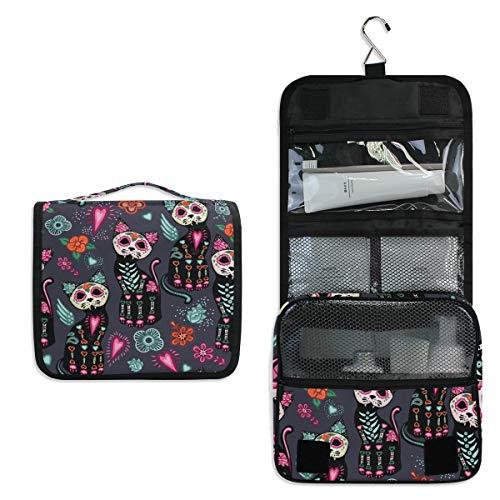 JOYPRINT Hanging Toiletry Bag Floral Sugar Skull Cat Halloween, Makeup Bag Cosmetic Bag Bathroom Travel Organizer Large for Women -