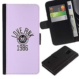 KLONGSHOP / Tirón de la caja Cartera de cuero con ranuras para tarjetas - Year 1986 Music Retro Vintage - Samsung Galaxy S5 Mini, SM-G800, NOT S5 REGULAR!