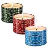 Soyyla Scented Candles Soy Wax Aromatheray 8.5 Oz tinplate,Set Of 3(Vanilla Lavender And Peach).