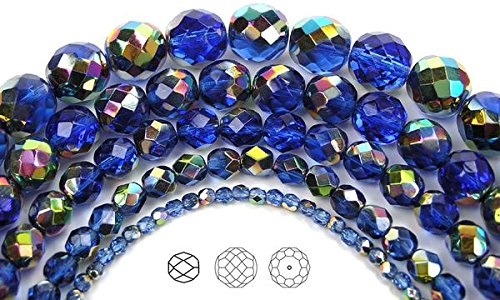 (12mm (34 beads) Sapphire Vitrail coated, Czech Fire Polished Round Faceted Glass Beads, 16 inch strand)