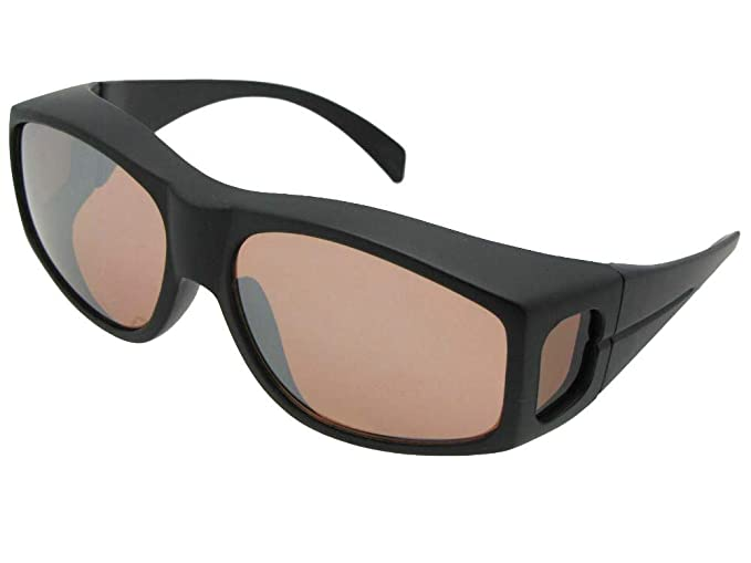 1246e1dc956 Large Non Polarized Fit Over Sunglasses Wrap Around Style F18 (Flat Black-Non  Polarized
