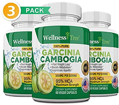 Pure Garcinia Cambogia Extract - 95% HCA 3000mg Capsules - Best Weight Loss Supplement - Burn Fat & Boost Metabolism, Highest Potency Diet Pills for Men & Women - 3 Month Supply