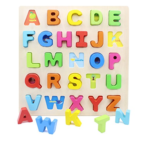 - YouΞ Wooden Chunky Alphabet Learning Puzzle Board for Toddlers