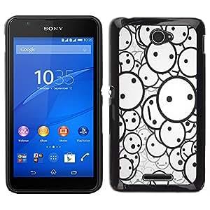 Caucho caso de Shell duro de la cubierta de accesorios de protección BY RAYDREAMMM - Sony Xperia E4 - Smiley Patrón