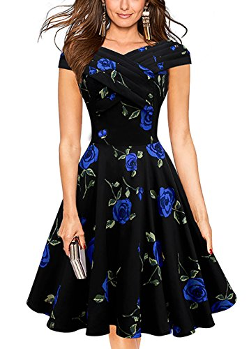 Women Vintage 1950's Floral Print Party V Neck Swing Dress Cocktail - Print Boatneck Dress