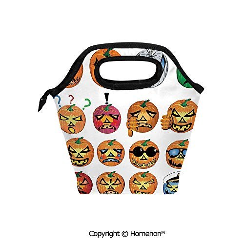Insulated Neoprene Soft Lunch Bag Tote Handbag lunchbox,3d prited with Carved Pumpkin with Emoji Faces Halloween Humor Hipster Monsters Art,For School work Office Kids Lunch Box & Food Container]()