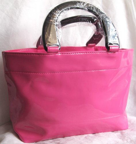 neiman-marcus-bright-pink-patent-tote-hand-bag-scent-event-2013-new
