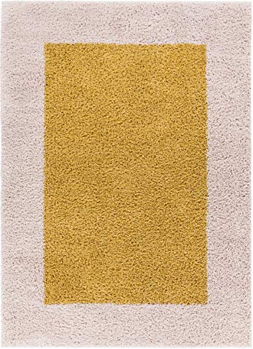 Well Woven 71214 Madison Cozumel Modern Border Gold Shag Thick Area Rug 3'3