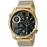 Joshua & Sons Men's JX112YGB Yellow Gold Dual Time Zone Quartz Watch with Black Dial and Yellow Gold Mesh Bracelet