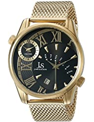 Joshua & Sons Mens JX112YGB Yellow Gold Dual Time Zone Quartz Watch with Black Dial and Yellow Gold Mesh Bracelet