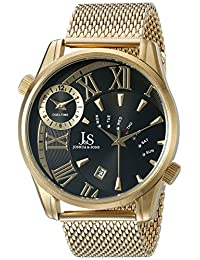 Joshua & Sons Men's JX112YGB Round Black Dial Three Hand Quartz Gold Tone Bracelet Watch