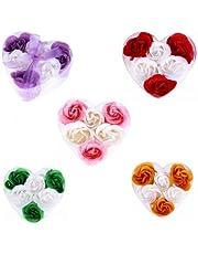 Lote de 15 Set Estuches Corazón con 6 Flores de Jabón decorados con Lazo - Jabones