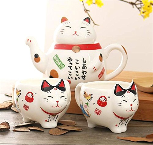 EatingBiting(R)Charming Traditional Culture Japanese Design Maneki Neko Lucky Cat Ceramic teapot 1 Tea Pot and 2 Cups Set Package Gift Box Excellent Home Decor Asian Living Gift Chefs coffee miketea ()