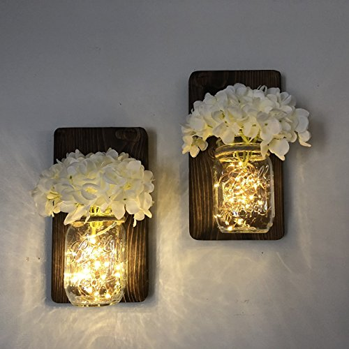 Mason Jar Wall Sconce Set of Two Complete with LED Fairy Lights & Choice of Flowers (Light Jar Wall Sconce Mason)