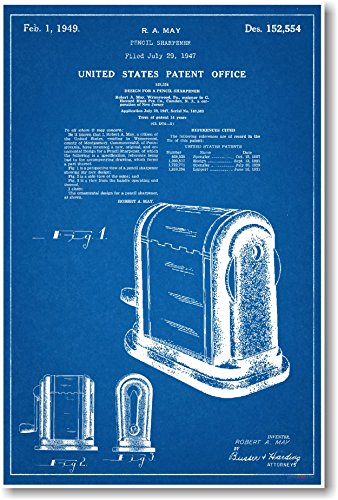 Pencil Sharpener Patent - NEW Famous Invention Blueprint Poster
