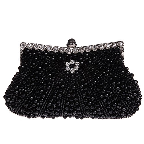 Fawziya Pearl Clutch Purse For Wedding Beaded Crystal Handbag-Black Black Glass Beaded Purse