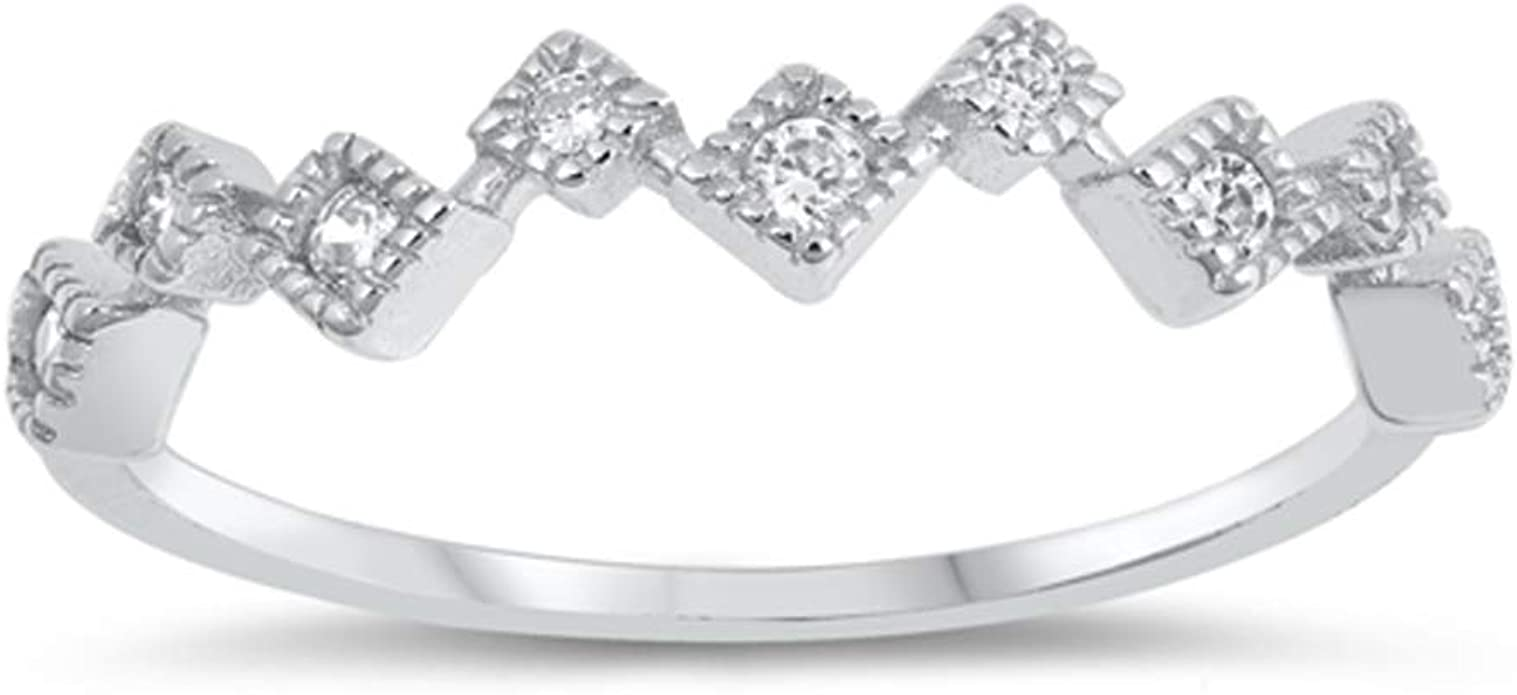 Solid 925 Sterling Silver CZ Band Ring Eternity Zig Zag Design Various Sizes