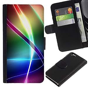 Billetera de Cuero Caso del tirón Titular de la tarjeta Carcasa Funda del zurriago para Apple Iphone 6 4.7 / Business Style Iridescent Rainbow Pattern