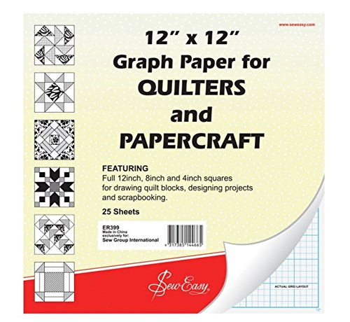 Sew Easy ER399 | Quilters Graph Paper Pad 8in/4in Squares | 12 x 12in 25 sheets by Sew Easy