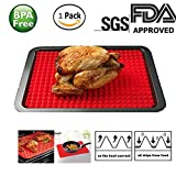 Non Stick Heat Resistant Raised Pyramid Shaped Silicone Baking Mat (11.5x16 Inches) - Perfectly Drains Excess Fats - Good for BBQ, Grilling, Baking - Food Grade Silicone -Roasting Mats Red