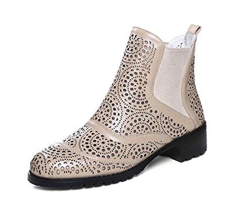 YEEY Cuero genuino cerrados sandalias flores huecos botas cortas para mujer talón plano Sandalias Romanas Martin botas zapatos primavera otoño apricot