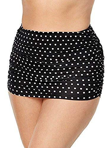 LAUREN RALPH LAUREN Women's Plus Size Dot Ultra Hi Waist Hipster Black/White 18 W (Black And White Polka Dot Bathing Suit Bottoms)