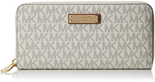 (Michael Kors Women's Jet Set Item Za Continental-Signature, Vanilla)