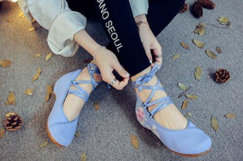 Azul Crown de Para Tianrui Vestir Lona de Sandalias Mujer 6dpwa8