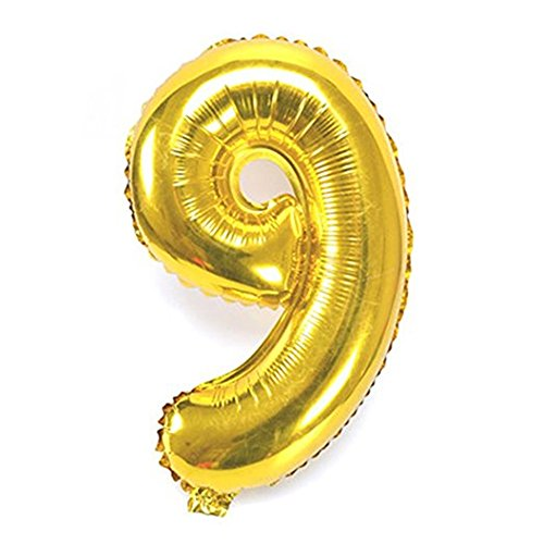 Vagski 40 Inch Number Balloons ( Number 9 ) Jumbo Aluminum Foil Gold Digital Balloons for 9th Birthday Boy Girl Wedding Bridal Shower Baby Party Decorations SZ09