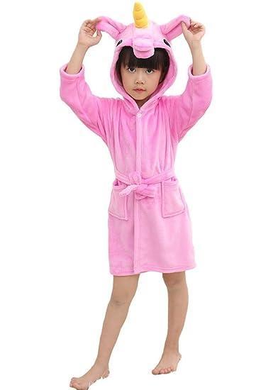 0173a0030f LeaLac Kids Unicorn Hooded Soft Bathrobes Flannel Robe Pajamas Unisex  Animal Sleepwear Halloween Gift Rose 120