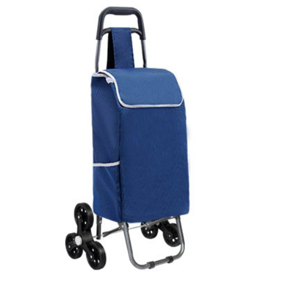 ハンドカート 軽量折りたたみショッピングカート2輪(青、紫、赤、ポルカドット)93 * 34 * 18cm トロリー (色 : Blue) B07F7PCK2K Blue Blue