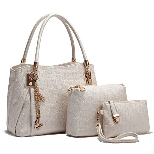 Women Piece And Bag Strap Tote Pu Bag White Elegant With Luckywe Shoulder 3 Handles Suits RzBdpw